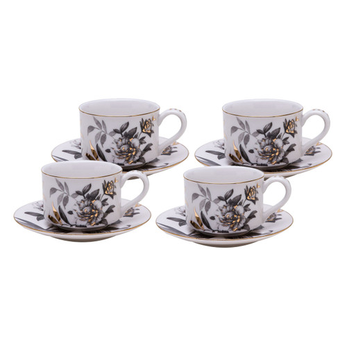 Black Gold Peony - Tea Cups and Saucers - Set of 4