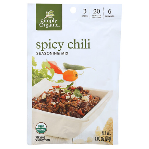 Simply Organic Spicy Chili Seasoning Mix - 1.0oz (28g)