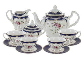 Navy Rose Porcelain