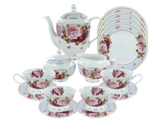 Peony and Strawberry Blue Bone China