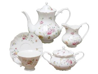 Purple Floral Tea Set
