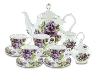 Purple Pansy Fine Bone China by Coastline Imports