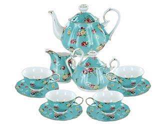 Shabby Rose Turquoise Porcelain