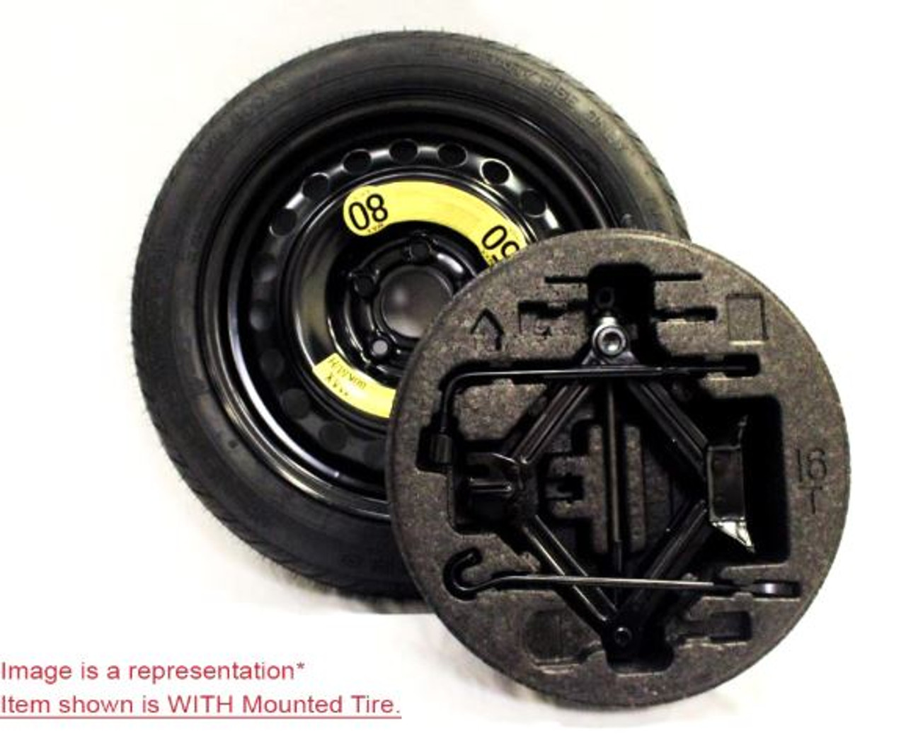 2012-2016 Hyundai Accent Spare Tire Kit - With Mounted Tire
