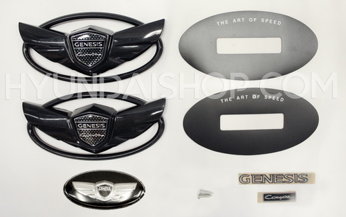 Hyundai Genesis Coupe Wing Emblem Kit - Gloss Black