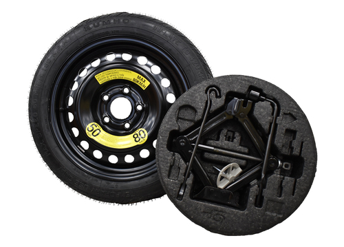 2019-2022 Hyundai Veloster Spare Tire Kit - Shown With Mounted Tire, Image is a representation.