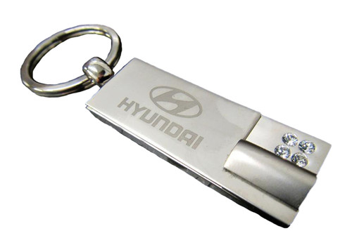 Hyundai Keychain - Rectangle with Crystals