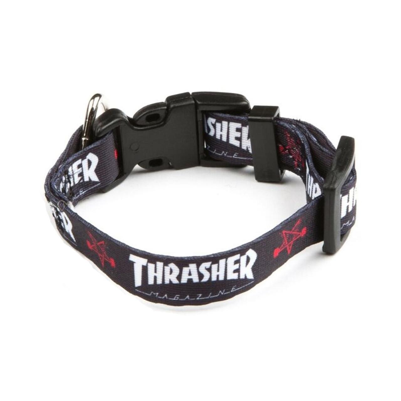 "THRASHER Dog Collar Black Large  15""-25"""