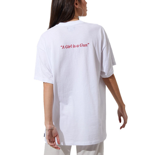 AFENDS A Girl Is A Gun Oversize Tee White