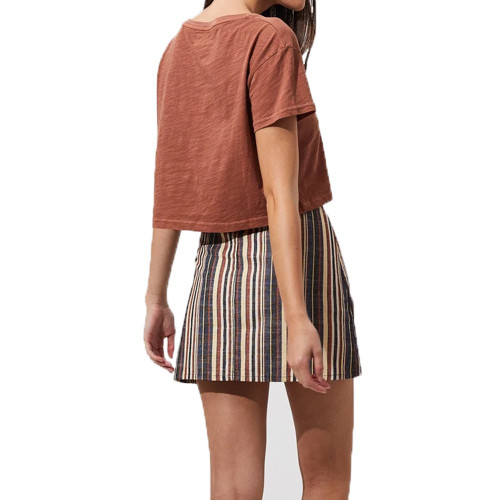 AFENDS Donna Cropped Tee Tobacco