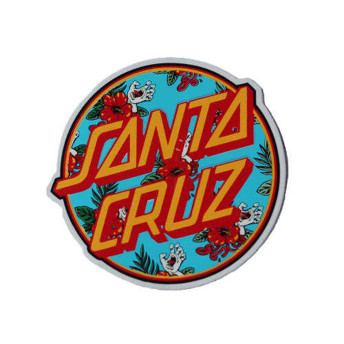 SANTA CRUZ Basic Circle Logo Floral Sticker 8cm
