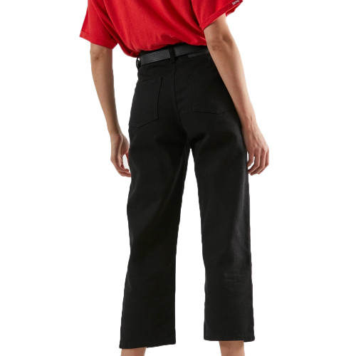 AFENDS Shelby Twill High Waist Wide Leg Jeans Black