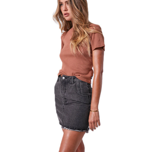 AFENDS Juliette Rib Tee Clay