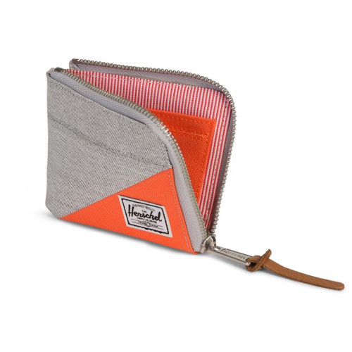 HERSCHEL Johnny Wallet RFID Light Grey Crosshatch/Vermillion Orange