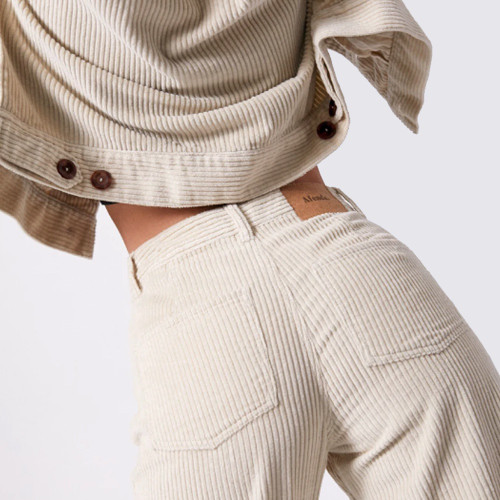 AFENDS Shelby Corduroy High Waist Wide Leg Pants Macadamia