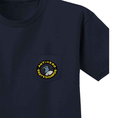 ANTI HERO Pigeon Round Pocket Tee Navy w/Multi