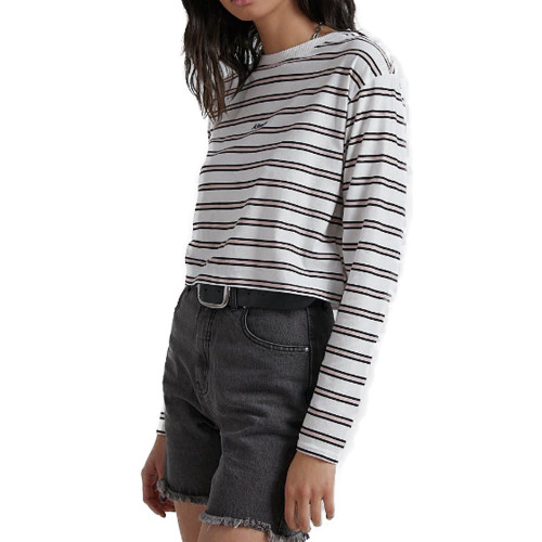 AFENDS Niko Striped Cropped  LS Tee Off White