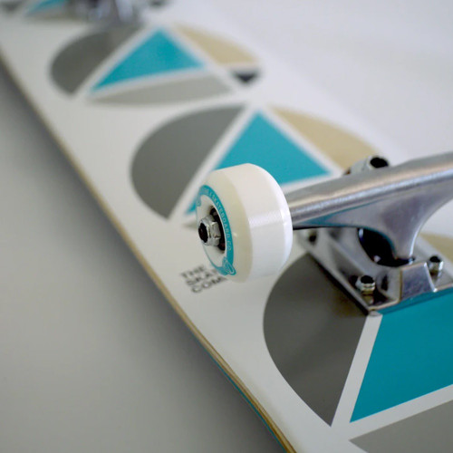 4 SKATEBOARD COMPANY Repeat Teal White Complete Skateboard 7.75