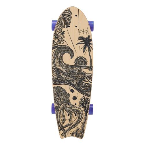 GOLD COAST LONGBOARDS Wanderlust Blue Swirl Surf Skate Cruiser Skateboard  30