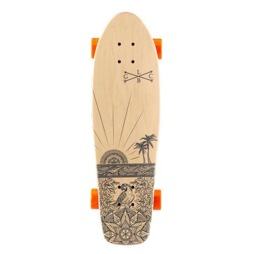 GOLD COAST LONGBOARDS Wanderlust Orange Swirl Cruiser Skateboard 28