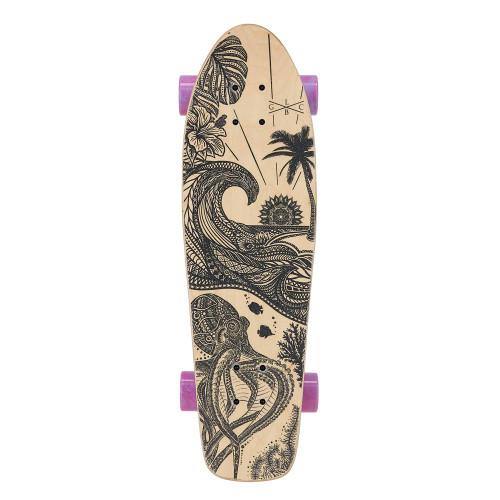 GOLD COAST LONGBOARDS Aloha Pink Swirl Cruiser Skateboard 28