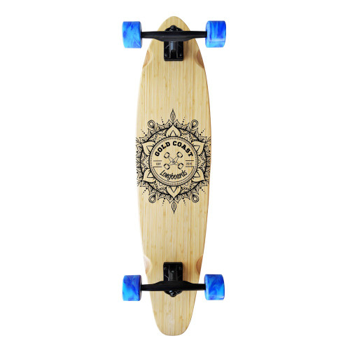 GOLD COAST LONGBOARDS Wanderlust Blue Swirl Kicktail Longboard Skateboard 38