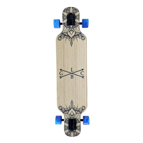 GOLD COAST LONGBOARDS Wanderlust Blue Swirl Dropthrough Longboard Skateboard 38