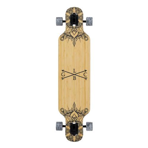 GOLD COAST LONGBOARDS Wanderlust White Swirl Dropthrough Longboard Skateboard 38