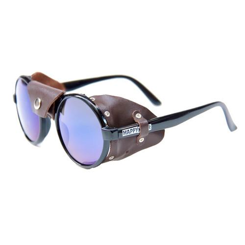HAPPY HOUR Dusters Jon Dickson Matte Black/Brown Leather Sunglasses
