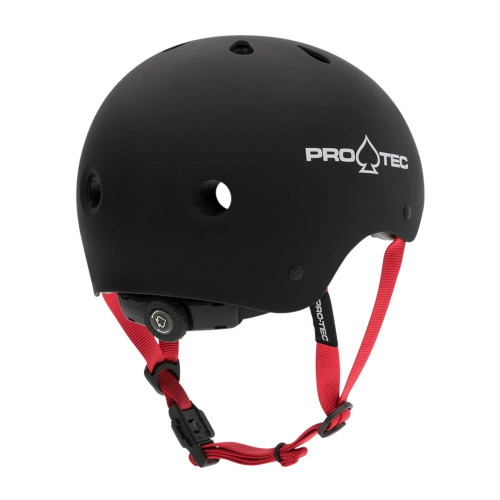 PRO TEC Classic Certified Helmet JR Matte Black/Red Strap