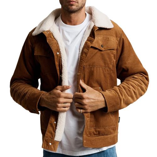 MR SIMPLE Cord Sherpa Jacket Tobacco