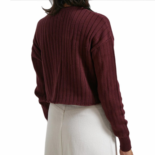 AFENDS Downtown Organic Knit Crew Wine