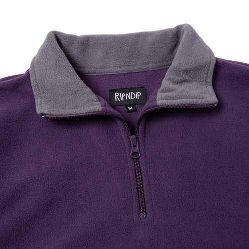 RIPNDIP Peek A Nermal Brushed Fleece Half Zip Sweater Purple/Grey