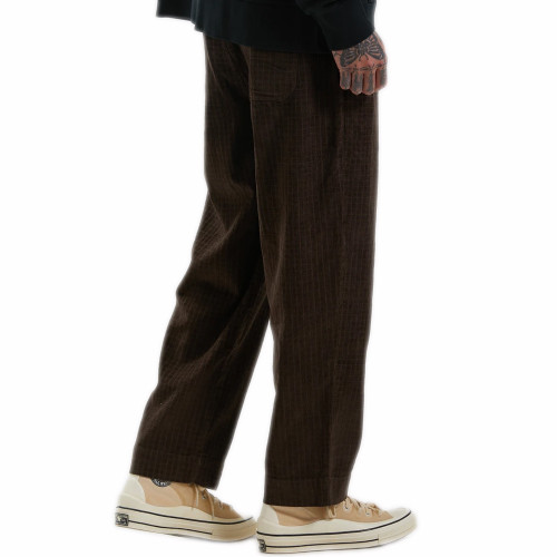 AFENDS Couch Surfer Hemp Check Corduroy Baggy Pants Coffee