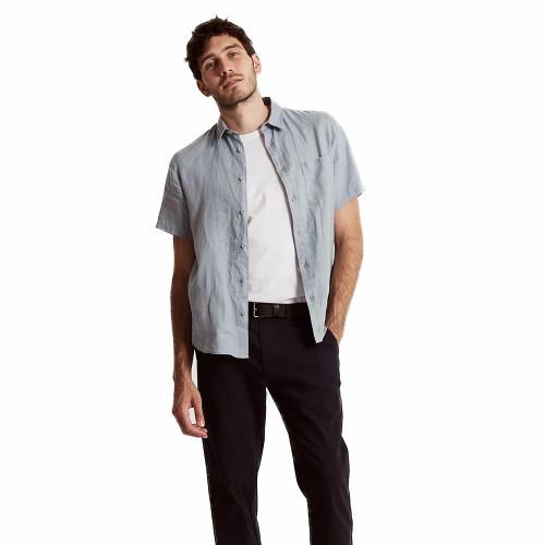 MR SIMPLE Linen SS Shirt Blue Chambray