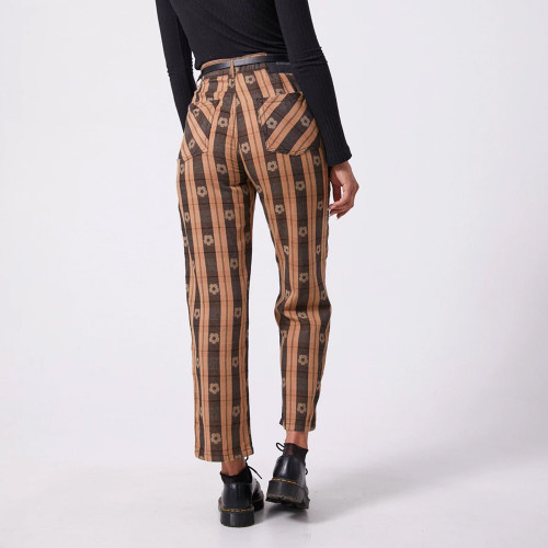 AFENDS Shelby Poppy Check High Waist Wide Leg Jeans Black & Tan