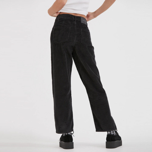 AFENDS Shelby Corduroy High Waist Wide Leg Pants Raven