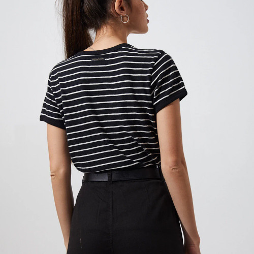 AFENDS Hemp Basics Stripe Ringer Tee Black Stripe