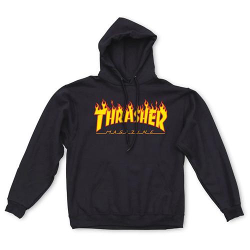 THRASHER Flame Logo Hood Black