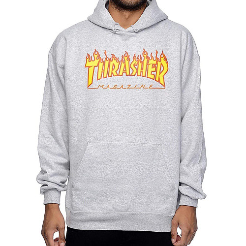 THRASHER Flame Logo Hood Light Grey