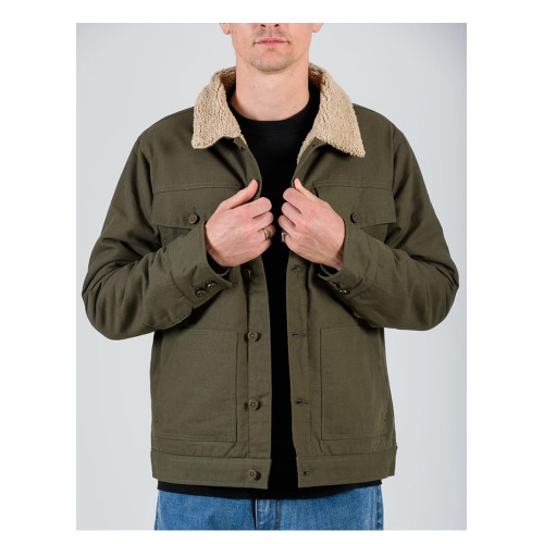 MR SIMPLE Canvas Sherpa Jacket Dark Olive