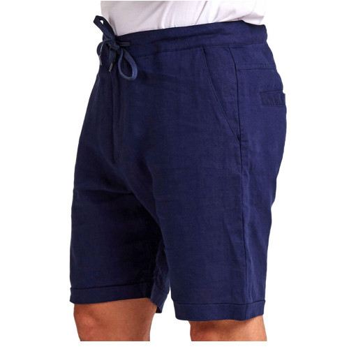MR SIMPLE Tanner Mens Shorts Navy Linen