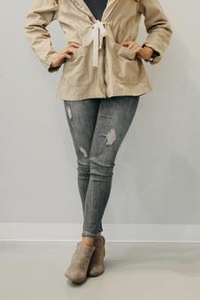 Mid-Rise Semi Distressed Skinny Jeans