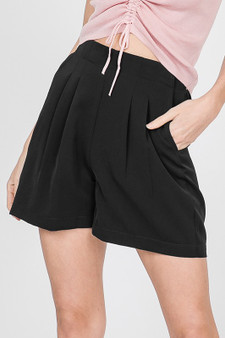 Pleated Solid Shorts