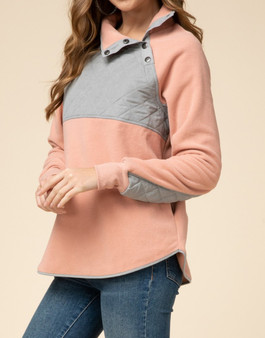 Fleece Sweater with Quilted Detail