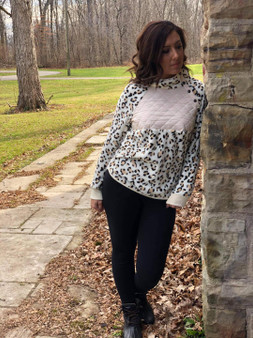 Button Print Long Sleeve Sweater