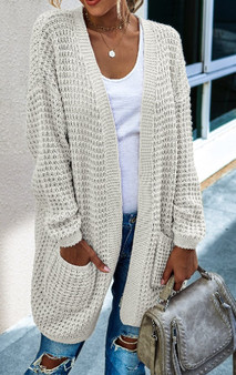 Color Block Open Front Knit Cardigan