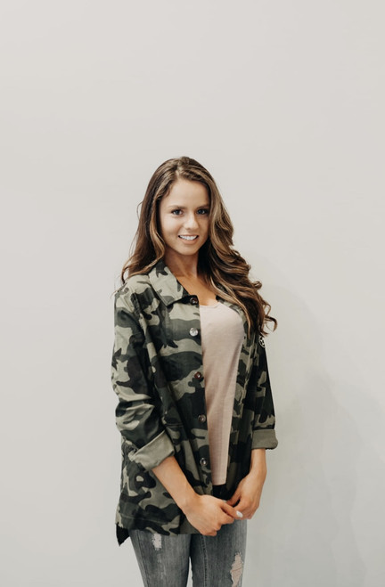 Button Up Camouflage Jacket With Patch Detail