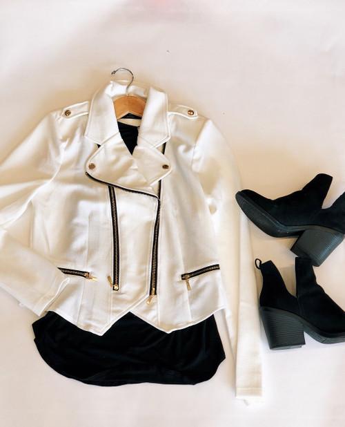 Long Sleeve Double Zip Moto Jacket