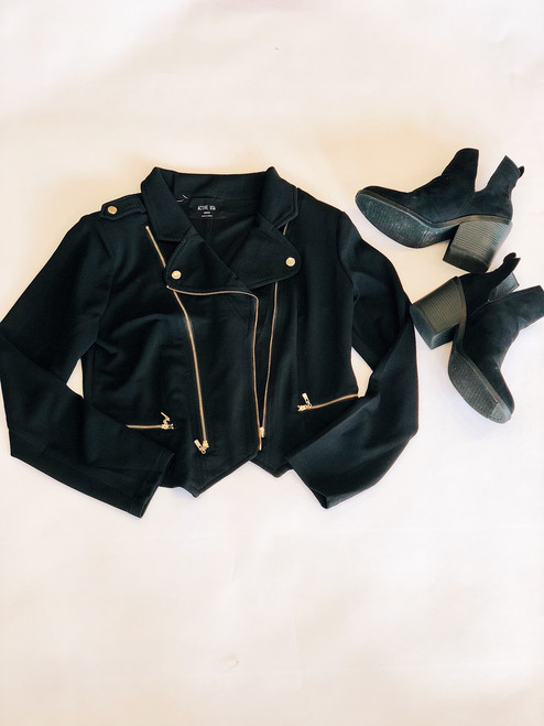 Long Sleeve Double Zip Moto Jacket